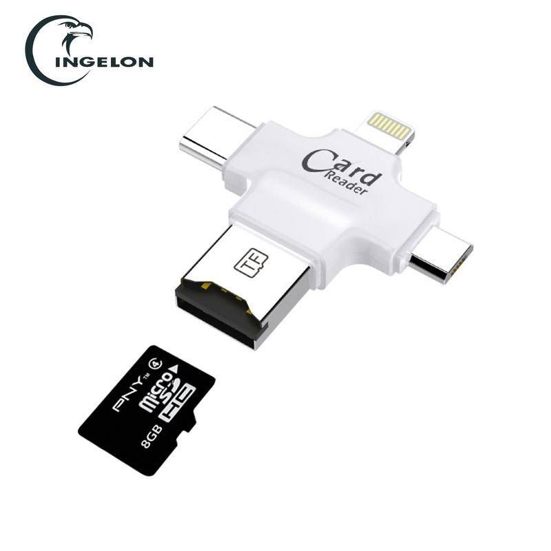 4 in 1 Type-c/Lightning/Micro USB/USB 2.0 Memory Card Reader Micro SD Card Reader android otg readerFor iphone 7plus 6s5s reader