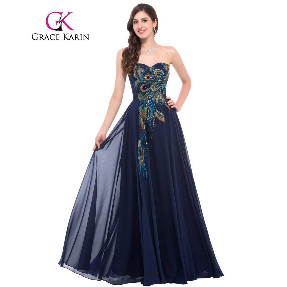 Grace Karin Strapless Peacock Evening Dress Long Chiffon Embroidery Formal Evening Gowns Robe De Soiree Wedding Prom Dress 2018