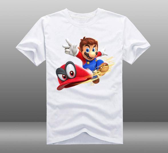 2018 Game Super Mario Odyssey Mens Casual Short Sleeve Cotton O-Neck Printing Pattern T-shirts Tops Tee Shirts