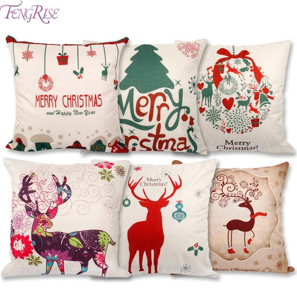 Merry Christmas Decorations for Home Pillow Linen Cover Cushion PillowCase Throw Pillow Covers Happy New Year