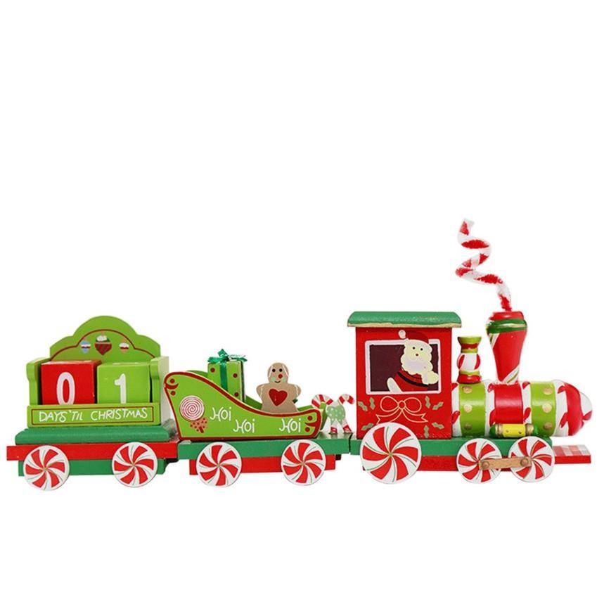 Charming 2 Piece little train Wood Christmas Train Ornament Decoration Decor Gift