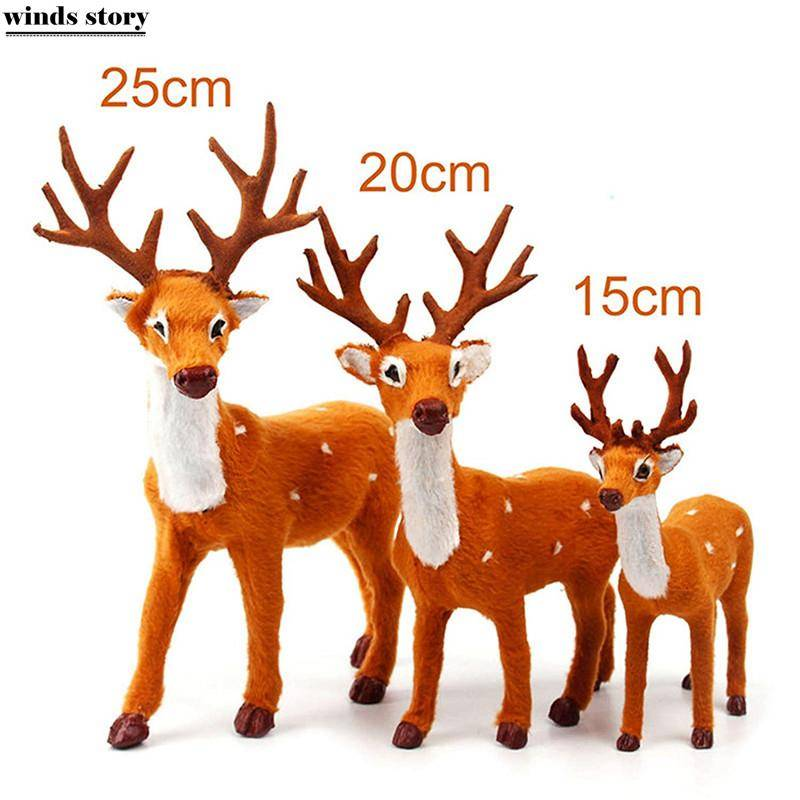 Reindeer Xmas Elk Plush Simulation Deer New Year Christmas Decorations For Home Ornaments Christmas Gift