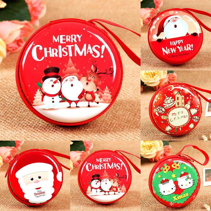 Merry Christmas Cute Purse Case Red Santa Clause Candy Box Kids Gift Pouch Keys USB Holders