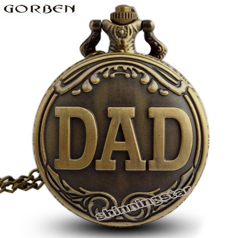 Vintage Bronze Dad Pattern Quartz Pocket Watch Necklace With Chain Pendant Watch Father's Day Dad Birthday Cute Gift