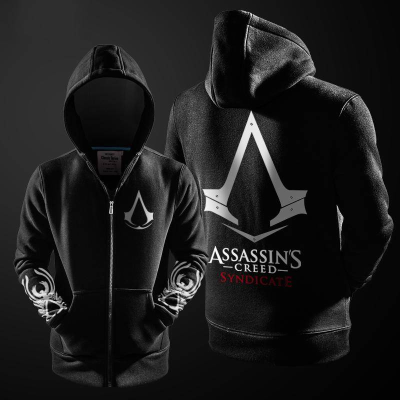 Assasins Creed Hoodie Men Black Cosplay Sweatshirt Costume Fleece Lined Assassins Creed Mens Hoodies Jackets